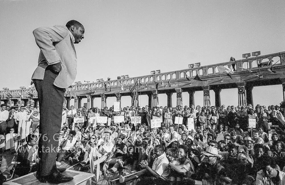 A photograph of Dick Gregory at the Democratic National Convention in Atlantic City, 1964, George Ballis, Take Stock