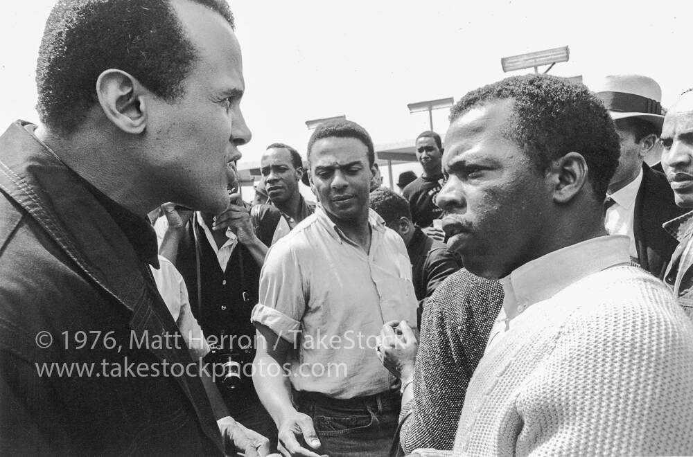 Harry Belafonte (left) with SNCC chairman John Lewis, 1965, Matt Herron, Take Stock